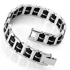 stainless bracelet images Inblue men 39 s stainless steel rubber bracelet link jpg