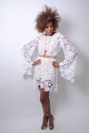 bohemian hippie lace wedding dress white crochet lace dress bell