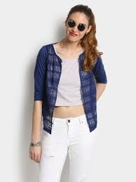 buy 109f women 109f women navy lace shrug online india women