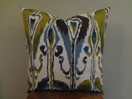 Etsy Decorative Pillows Decorative Pillow Cover Ikat Pattern Blue Gray Green Black White