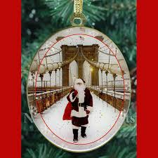 santa on bridge new york ornament ny
