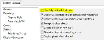 a quick way to find under defined sketches