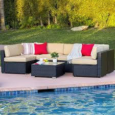Outdoor Furniture Sectional Sofa 7 Piece Outdoor Wicker Sectional Sofa W Table Slickdeals Net