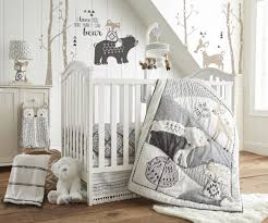 Nursery Bedding Set Levtex Baby Bailey Charcoal And White Woodland Themed 5 Crib