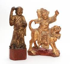 foo lion statue antique wood warrior on foo lion carved wood statue