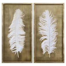 gold leaf home decor hollywood regency white feather gold leaf box frame set of 2