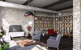 Living Room Design Brick Wall Industrial Style For Living Room Design Apply With Concrete Brick
