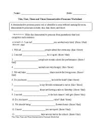 demonstrative adjectives worksheet worksheets