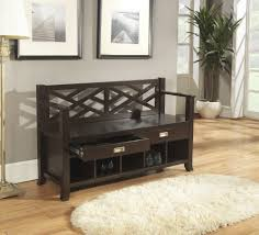 comfortable black wooden foyer bench with storage with back of