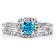 Diamond Cushion Cut Ring Engagement Rings Aquamarine Diamond Cushion Cut Cocktail Ring
