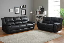 Black Leather Sofa Recliner Cantrell Reclining Sofa Set Black Bonded Leather Throughout