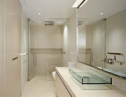 inspiring wall and floor decoration for your small bathroom minimalist small bathroom with elegant plae cream wall color also large mirror hang on the wall