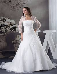 wedding dress jacket fitted gown strapless organza ruched wedding dress with lace