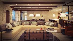 glamorous living room design with brwon elegance sofa and modern