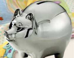 personalized silver piggy bank personalized bull dozer piggy bank silver plated in a pewter