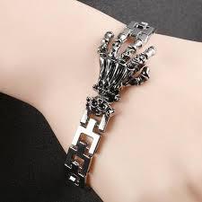skull hand bracelet images Fashion punk skull hand stainless steel charm bracelet for men jpg
