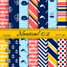 Scrapbook Paper Packs Nautical Digital Scrapbooking Paper Pack Digital Backgrounds