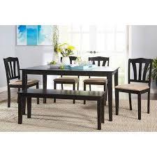 walmart dining room sets metropolitan 6 dining set with bench black walmart