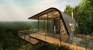 conceptualizes eco cabins nestled on mount cotton hillside