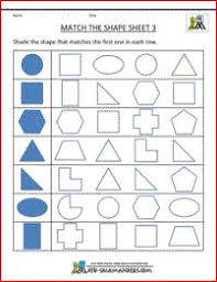 printable shape worksheets match the shape sheet 1 matching