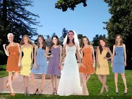 purple and orange wedding dress picture mismatched bridesmaids dresses purple orange blue yellow