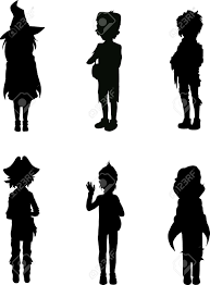 silhouettes of kids in scary halloween suits royalty free cliparts