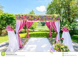 wedding arch garden beautiful wedding arch with flowers in garden stock photo image