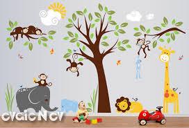 Jungle Wall Decal For Nursery Safari Wall Decals Nursery Wall Decals Monkey Wall Decals