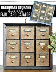Hardware Storage Cabinet How To Make A Faux Card Catalog From A Hardware Organizer Little