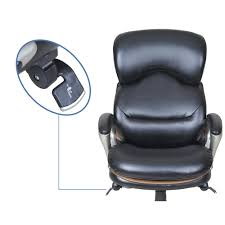 Black Leather Office Chair Serta At Home 45135 Wellness By Design Executive Leather Office