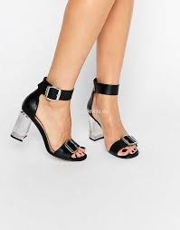 asos hoola clear heeled sandals black womens asos high heels