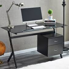 modern glass desk with drawers raygar black glass compact computer desk with 2 drawers for home