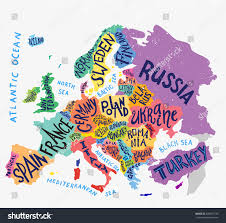 Europe Map Countries by Vector Europe Map Decorative Typography Poster Stock Vector
