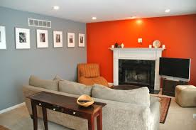 grey walls color accents grey wall color with orange accent wall for modern living room ideas
