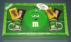 plain green m m s character mugs candy dish plate gift set