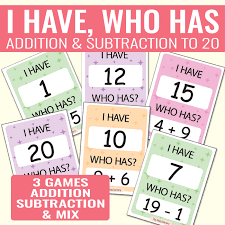 i have who has addition and subtraction to 20 easy peasy learners