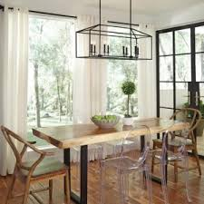 White Parsons Dining Table Lighting Brushed Nickel Circolo Linear Chandelier For Modern