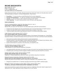 Sample Resume For Quality Assurance by Sample Resume For 1 Year Experience In Manual Testing Resume For