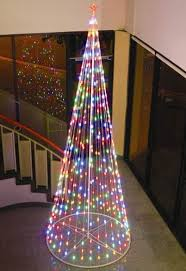 144 12 ft multi color outdoor led cone tree with collapsible base