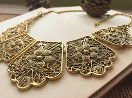 antique gold necklace images Antique statement gold necklace filigree necklace gift for mom jpg