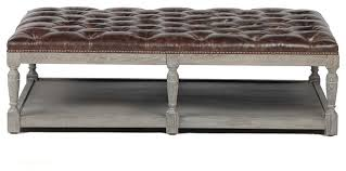 valencia dark brown ottoman with nailheads traditional