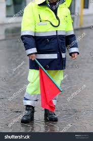 Flag Signals Meaning Policeman Uniform Red Flag Signal Roadblock Stock Photo 263176112