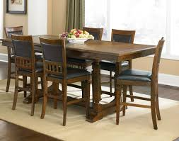 Bar Height Dining Room Sets Dining Room Small Round Dining Table And Chairs Round Brown Wood