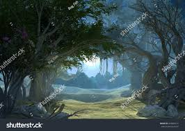 halloween dark background 3d rendering enchanted dark forest moonlight stock illustration