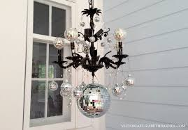 our front porch decorated for diy chandelier