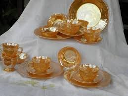 vintage king copper tint luster glass dishes set for 4