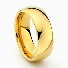 8mm ring gold tungsten carbide wedding band