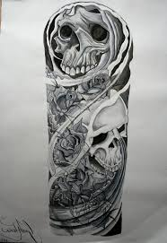 skull sleeve tattoos drawings sketches pictures to pin on