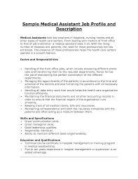 Resume Job Description by 10 Sample Resume For Medical Assistant Job Description