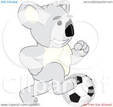 clipart of a koala bear mascot character playing soccer